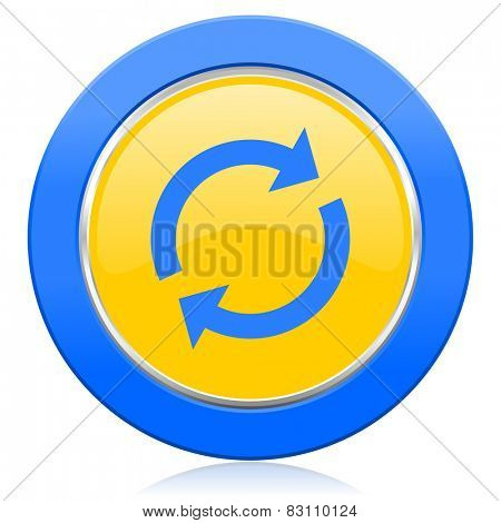 reload blue yellow icon refresh sign