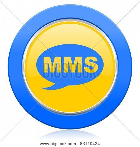 mms blue yellow icon message sign