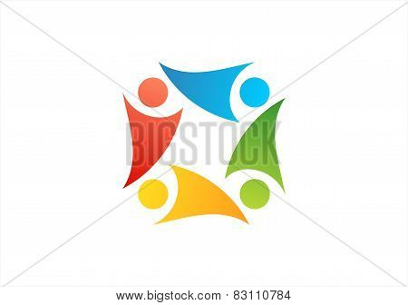 team work logo,education team,people club symbol health nature group icon