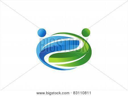partnership logo,health nature couples icon, team work symbol,wellness people team vector design
