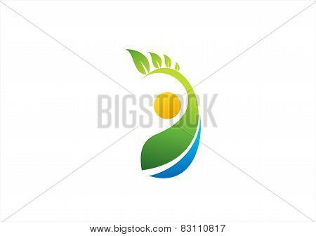 wellness nature plant people logo, fitness symbol icon design vector