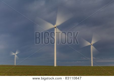 Wind Power Turbines In  Dobrogea, Romania