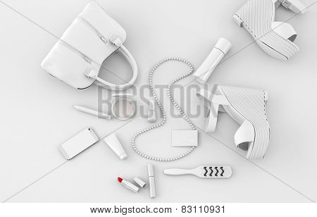Abstract background with white women accessories