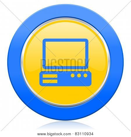 computer blue yellow icon pc sign