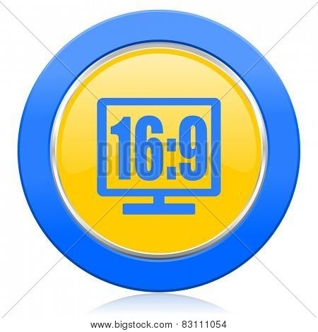 16 9 display blue yellow icon