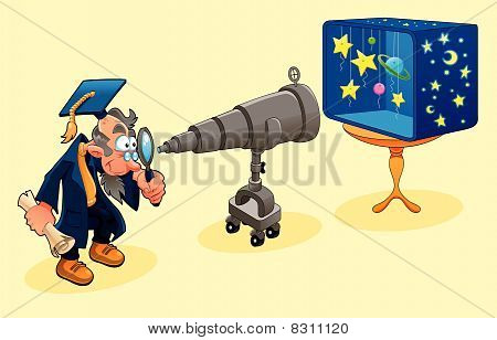Scientist with telescope.