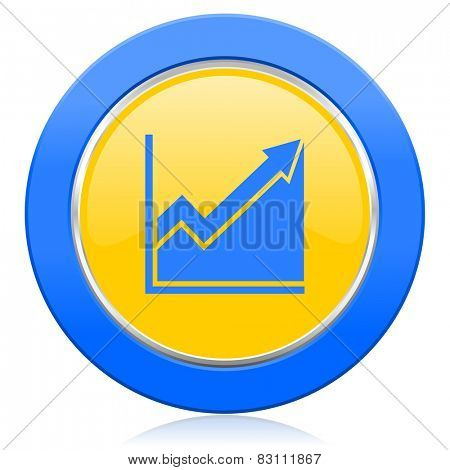 histogram blue yellow icon stock sign