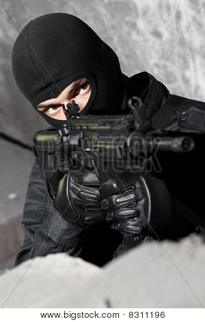 Armed Soldier With M-4 Rifle