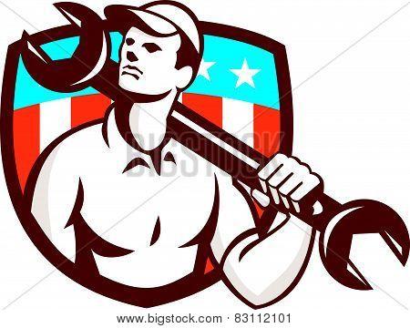 Mechanic Spanner Wrench Usa Flag Retro