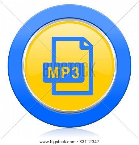 mp3 file blue yellow icon