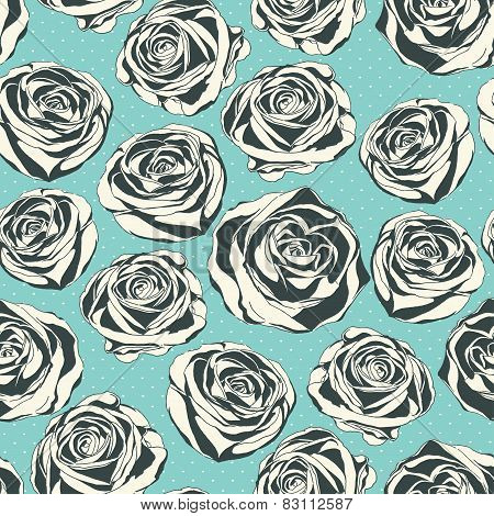 Vintage floral  pattern with hand drawn roses