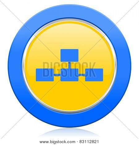 database blue yellow icon
