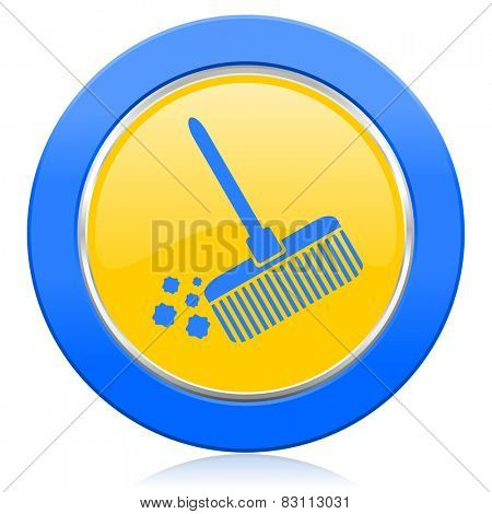 broom blue yellow icon clean sign