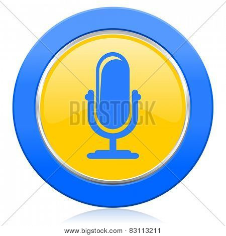 microphone blue yellow icon podcast sign