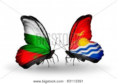 Two Butterflies With Flags On Wings As Symbol Of Relations Bulgaria And Kiribati