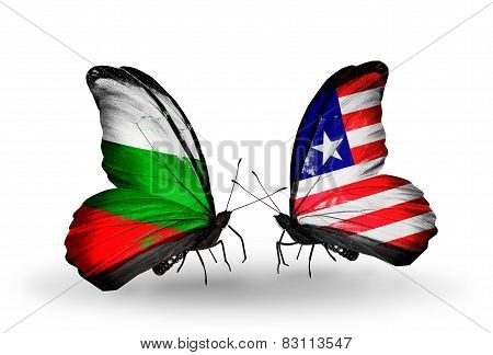 Two Butterflies With Flags On Wings As Symbol Of Relations Bulgaria And Liberia