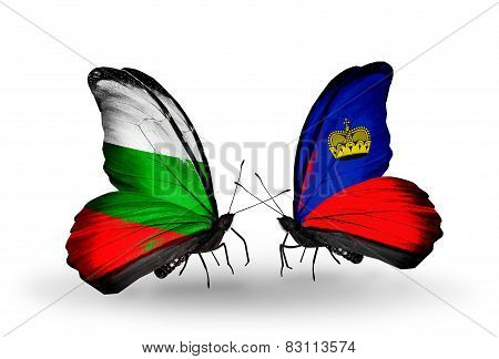 Two Butterflies With Flags On Wings As Symbol Of Relations Bulgaria And Liechtenstein
