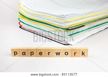 Pile of papers with text paperwork