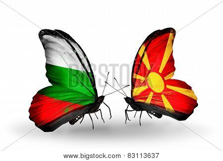 Two Butterflies With Flags On Wings As Symbol Of Relations Bulgaria And Macedonia