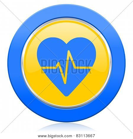 pulse blue yellow icon heart rate sign