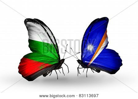 Two Butterflies With Flags On Wings As Symbol Of Relations Bulgaria And Marshall Islands