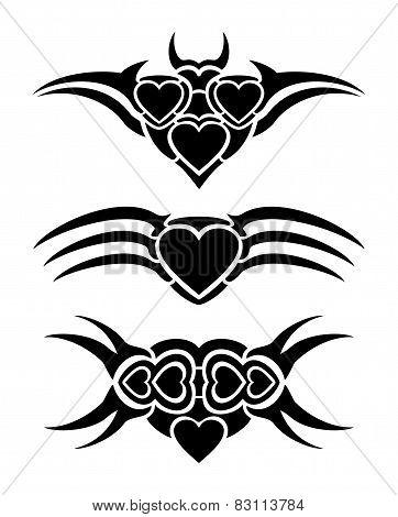 Hearts tribal tattoo
