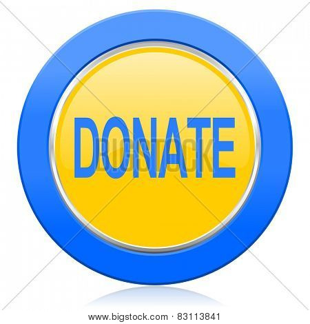 donate blue yellow icon