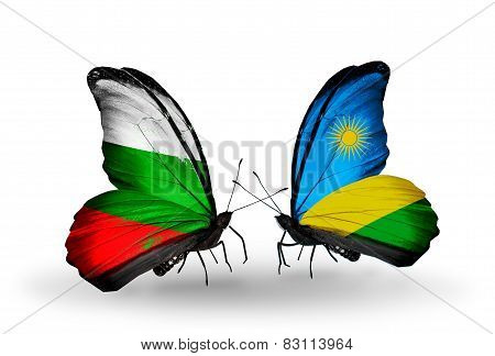Two Butterflies With Flags On Wings As Symbol Of Relations Bulgaria And Rwanda