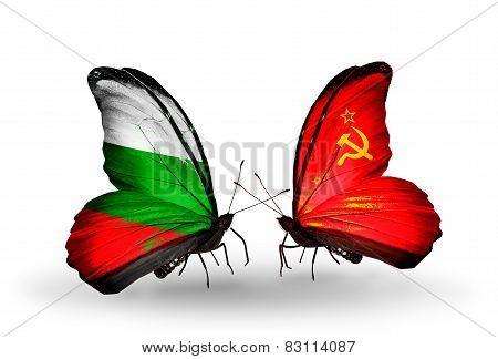 Two Butterflies With Flags On Wings As Symbol Of Relations Bulgaria And Soviet Union