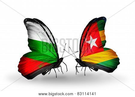 Two Butterflies With Flags On Wings As Symbol Of Relations Bulgaria And Togo