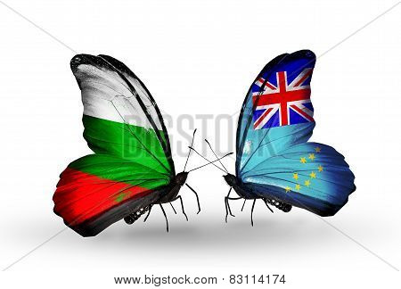 Two Butterflies With Flags On Wings As Symbol Of Relations Bulgaria And Tuvalu