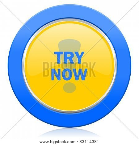 try now blue yellow icon