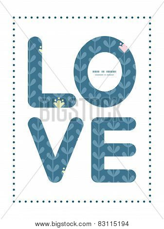 Vector blloming vines stripes love text frame pattern invitation greeting card template