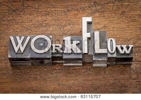 workflow word in mixed vintage metal type printing blocks over grunge wood