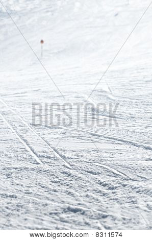 Close Up Of Ski Track