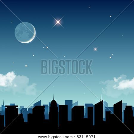 Star night in the city vector illustration