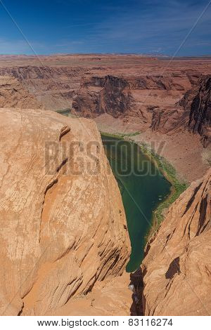 Partial View Of Horseshoe Bend In Arizona State, United States Of America