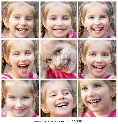 collage of face little cute girl laughing happily