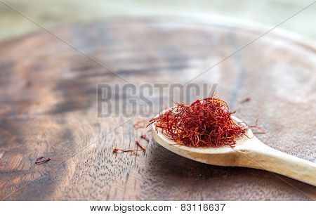 Saffron On The Wooden Spoon