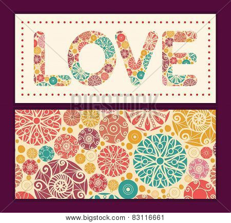 Vector abstract decorative circles love text frame pattern invitation greeting card template