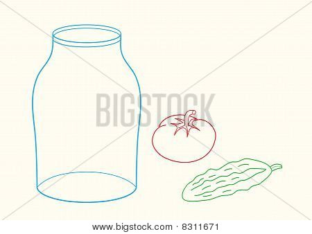 Doodle illustration of glass jar, cucumber and tomato