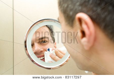 Male Face In Mirror