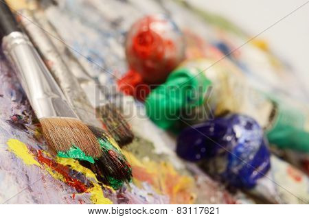 Artistic Palette With Colourful Oil Paints, Dirty Brushes - Background For Creative Art Design