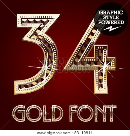 Vector set of gold rich alphabet with diamonds. Numbers 3 4