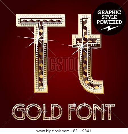 Vector set of gold rich alphabet with diamonds. Letter T