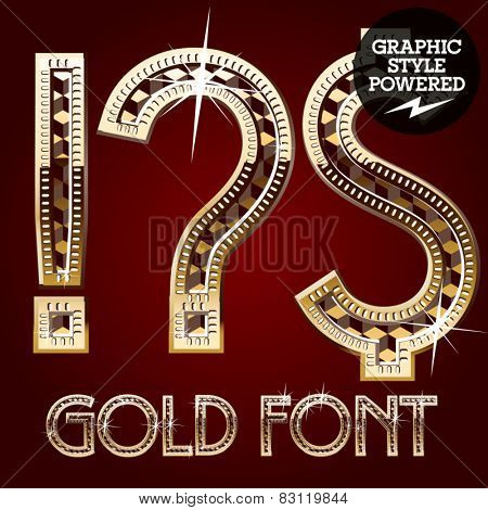 Vector set of gold rich alphabet with diamonds.Symbols 1