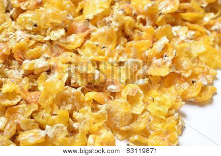 Corn Flakes Background. For Horses. Macro