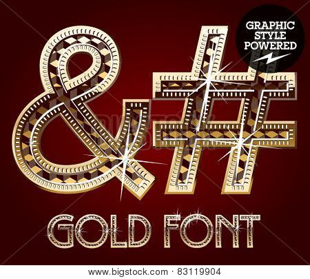 Vector set of gold rich alphabet with diamonds. Symbols 3