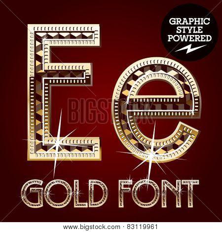 Vector set of gold rich alphabet with diamonds. Letter E
