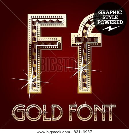 Vector set of gold rich alphabet with diamonds. Letter F